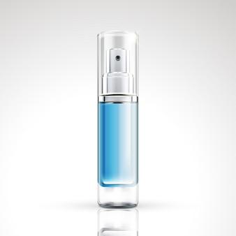 Projeto de pacote de garrafa spray azul definido em ilustração 3d