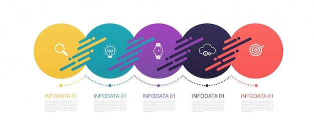 Projeto de padrão de círculos de infográficos com estrutura de 5 etapas. diagramas de modelo, representação e gráfico, linhas de gráfico de pizza, conceito de negócio.