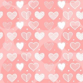 Projeto de padrão de coração sem costura desenhados à mão