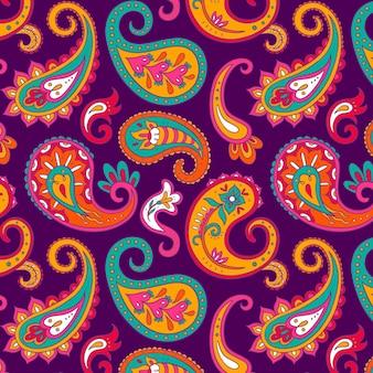 Projeto de padrão paisley colorido