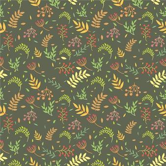 Projeto de padrão sem emenda de flores e folhas vintage