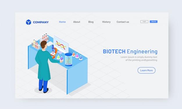 Projeto de página de aterrissagem de engenharia de biotecnologia isométrica