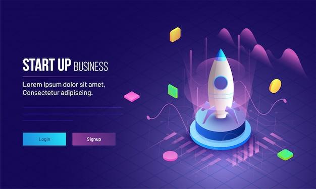 Projeto de página de destino de conceito de inicialização de negócios