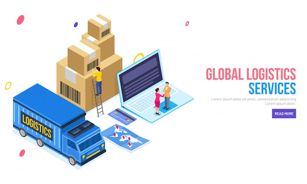 Projeto de página de destino de serviços de logística global