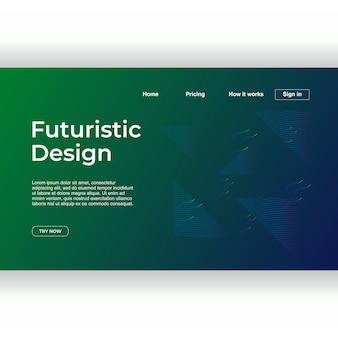 Projeto de página de destino geométrico abstrato moderno futurista