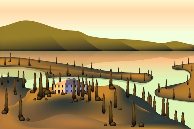 Projeto de paisagem campestre