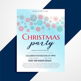 Projeto de panfleto de festa de natal elegante com padrão de flocos de neve