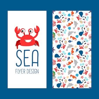 Projeto de panfleto vertical de vida marinha