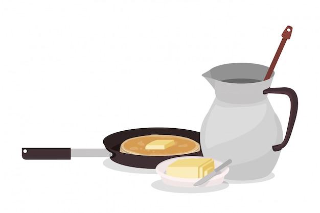 Projeto de panqueca e manteiga de café da manhã, comida refeição produto fresco natural mercado premium e culinária tema ilustração vetorial