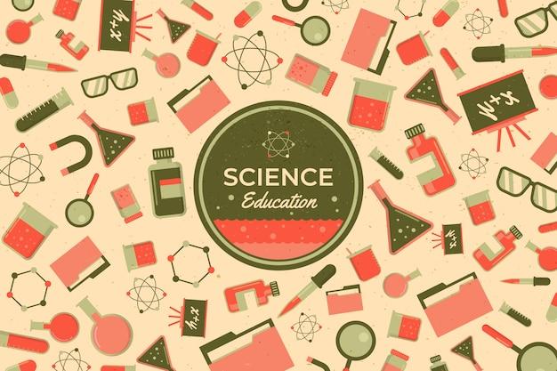 Projeto de papel de parede de educação científica vintage