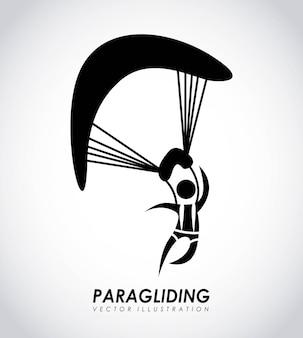 Projeto de parapente sobre ilustração vetorial de fundo cinza