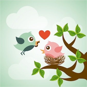 Projeto de pássaro sobre ilustração em vetor fundo paisagem