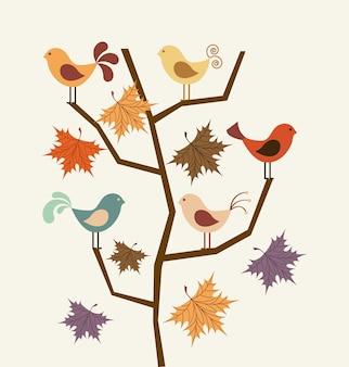 Projeto de pássaro sobre ilustração vetorial de fundo bege