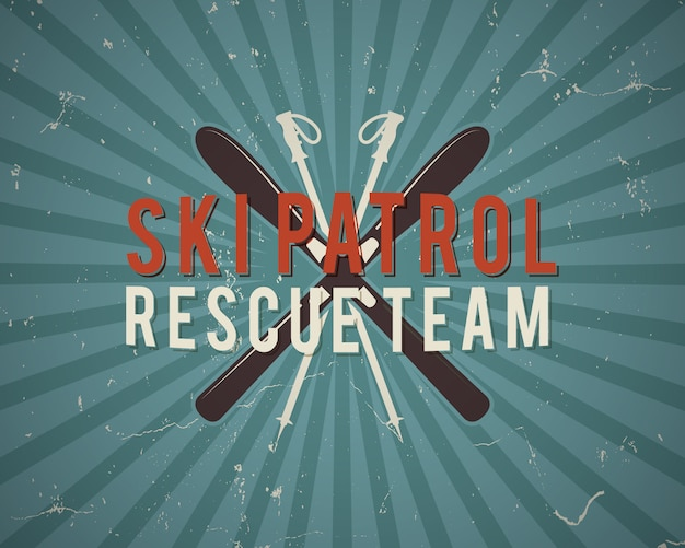 Projeto de patrulha de esqui vintage com equipamento de esqui e texto, patrulha de esqui, equipe de resgate