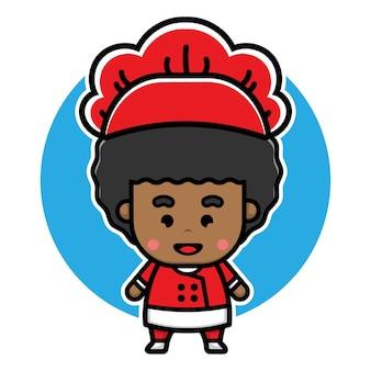 Projeto de personagem chef menino fofo