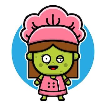 Projeto de personagem de chef de menina zumbi fofa conceito de vetor de halloween