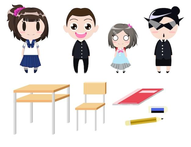 Projeto de personagem de desenho animado uniforme de estudante com estacionário