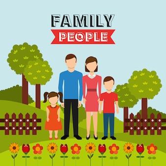 Projeto de pessoas da família Vetor grátis
