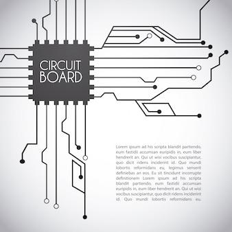 Projeto de placa de circuito sobre o fundo cinzento