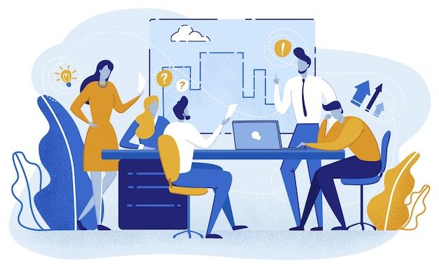 Projeto de planejamento de equipe, apresentação em reunião.