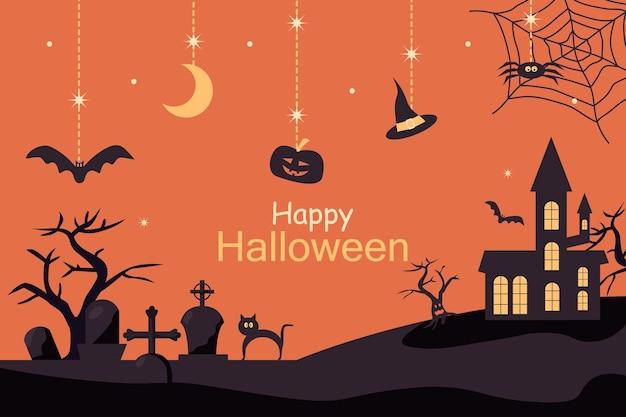 Projeto de plano de fundo bonito para festa de halloween, cena de um cemitério e uma casa antiga. ilustração vetorial