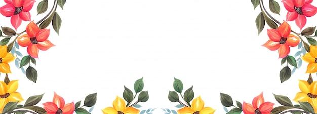 Projeto de plano de fundo colorido banner floral lindo casamento