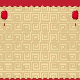Projeto de plano de fundo com padrões chineses marrons