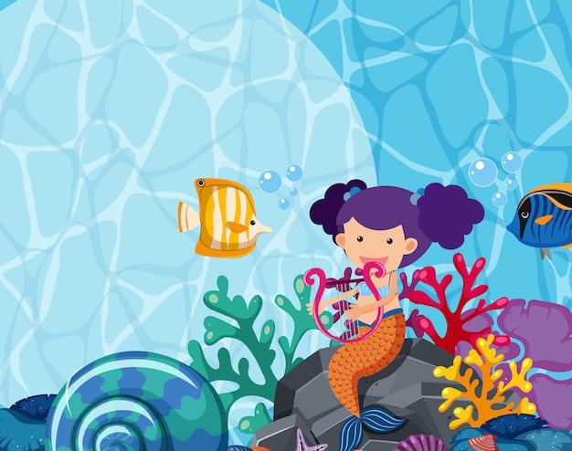Projeto de plano de fundo com sereia e peixe sob o mar