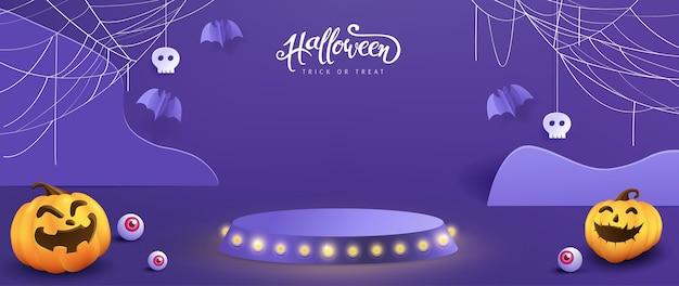 Projeto de plano de fundo de halloween com exposição de produto e elementos festivos de halloween.