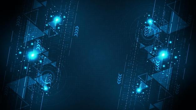 Projeto de plano de fundo de tecnologia em estilo digital em fundo azul escuro.