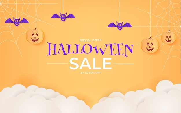 Projeto de plano de fundo de venda de halloween com estilo de corte de papel para promoção