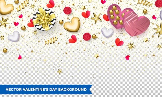 Projeto de plano de fundo dia dos namorados de corações e confetes de glitter dourados ou padrão de flor para as férias. Vetor Premium