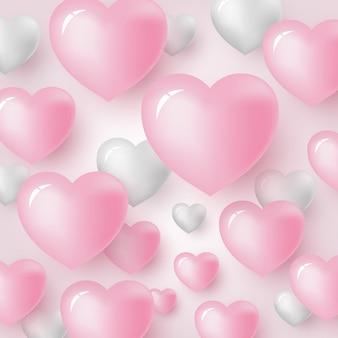 Projeto de plano de fundo do coração para dia dos namorados e cartão de casamento