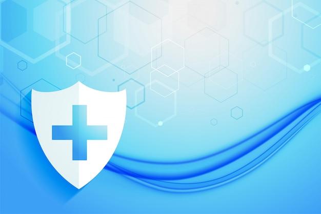 Projeto de plano de fundo do escudo de proteção do sistema de saúde médico
