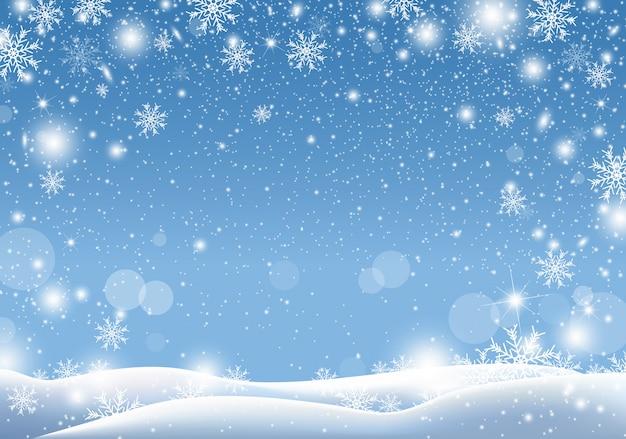 Projeto de plano de fundo do natal de neve caindo temporada de inverno