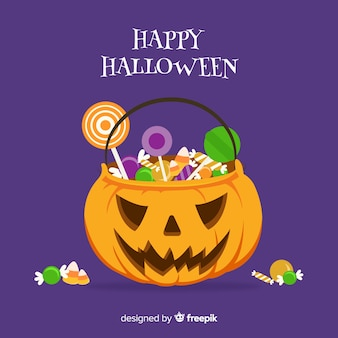 Projeto de plano de fundo do saco de doces de halloween