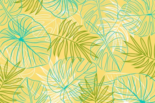 Projeto de plano de fundo linear folhas tropicais