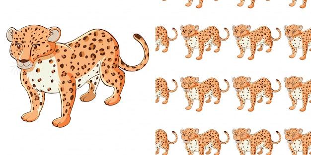 Projeto de plano de fundo sem emenda com guepardo bonitinho