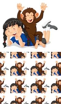 Projeto de plano de fundo sem emenda com menina e macaco