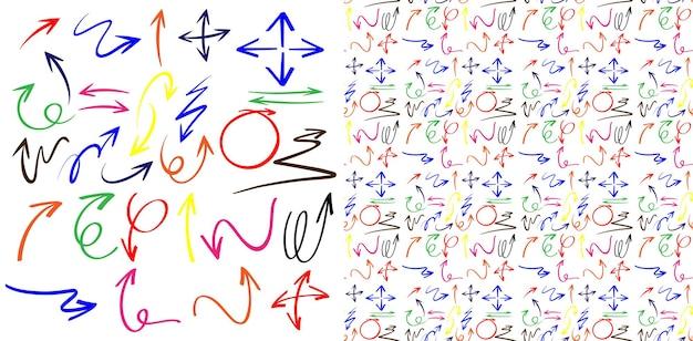 Projeto de plano de fundo transparente com setas de doodle