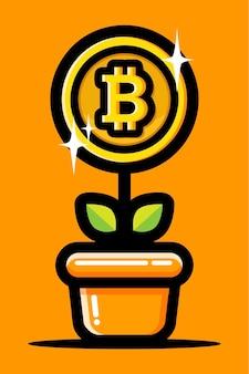 Projeto de planta com flor de bitcoin