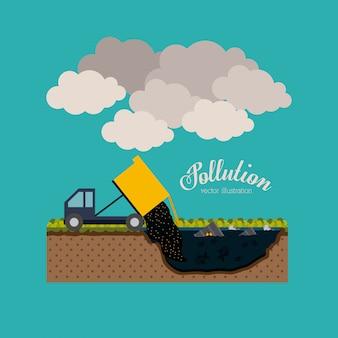 Projeto de poluição, ilustração vetorial.