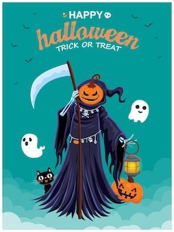 Projeto de pôster vintage de halloween com personagem de abóbora ceifadora de vetor