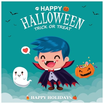 Projeto de pôster vintage de halloween com personagem fantasma de vampiro vetor