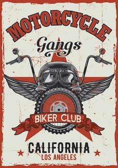 Projeto de pôster vintage de tema de motocicleta com ilustração de capacete, óculos, roda e asas