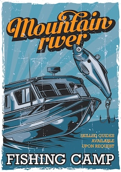 Projeto de pôster vintage de tema náutico com ilustração de barco de pesca