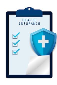 Projeto de prancheta de seguro de saúde e proteção médica e segurança para conceito de hospital e clínica
