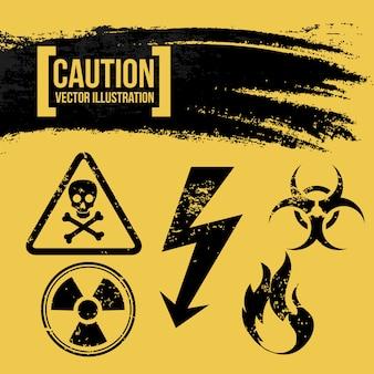 Projeto de precaução sobre ilustração vetorial de fundo amarelo