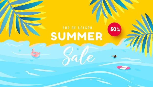 Projeto de promoção de verão praia tropical folhas tropicais