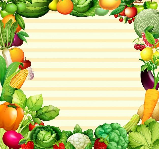 Projeto de quadro com ilustração de vegetais e frutas